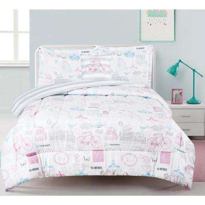 World Traveler 3-Piece Multi-Colored Twin Comforter Set with Decorative Pillow