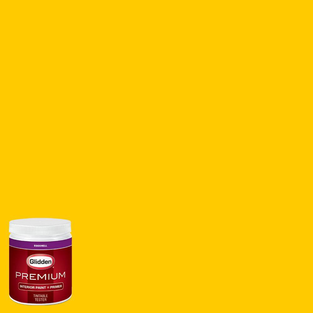 Glidden premium 8 oz bb 082f minnesota twins yellow for Eggshell yellow paint