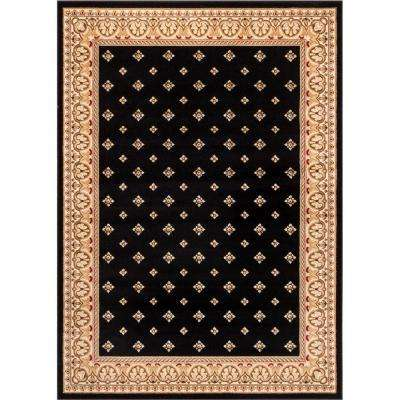 Barclay Hudson Terrace Black 8 ft. x 10 ft. Traditional Border Area Rug