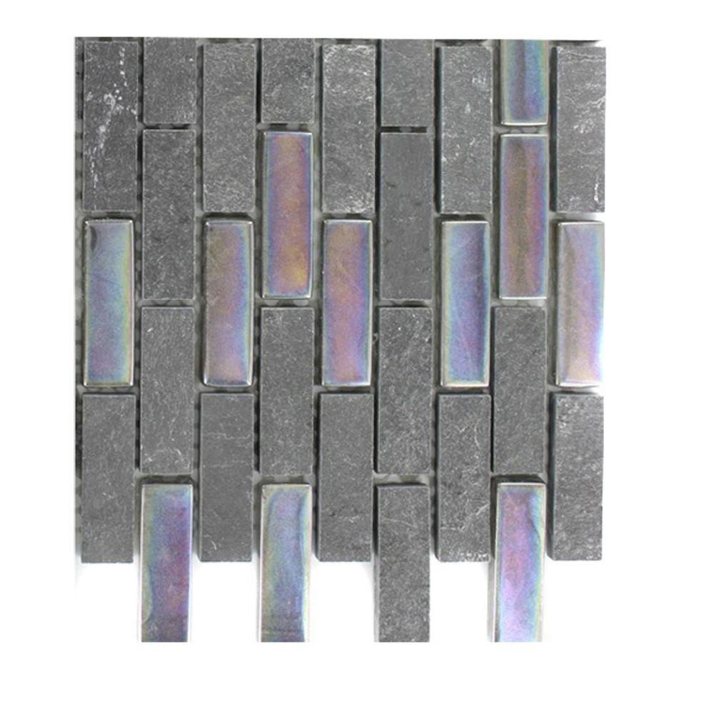 Splashback Tile Tectonic Brick Black and Rainbow Black Slate and Glass Mosaic Floor and Wall Tile - 3 in. x 6 in. x 8 mm Tile Sample