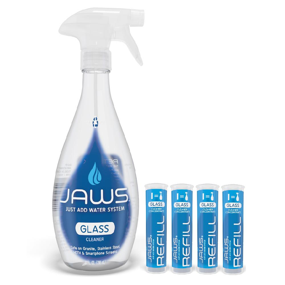 JAWS 27 oz. Ammonia-Free Glass Cleaner - Reusable Spray Bottle and Concentrated Refills Pods (4-Pack)