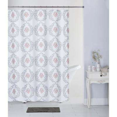 Leaf Iron Multi-Color 17-Piece Bath Rug, Ceramic Accessories and Shower Curtain Set