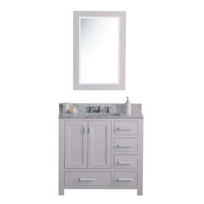 Madison 36 in. W x 34 in. H Vanity in White with Marble Vanity Top in Carrara White with White Basin and Mirror