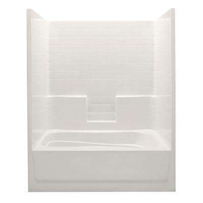 Everyday 60 in. x 42 in. x 74 in. 1-Piece Bath and Shower Kit with Left Drain in Bone