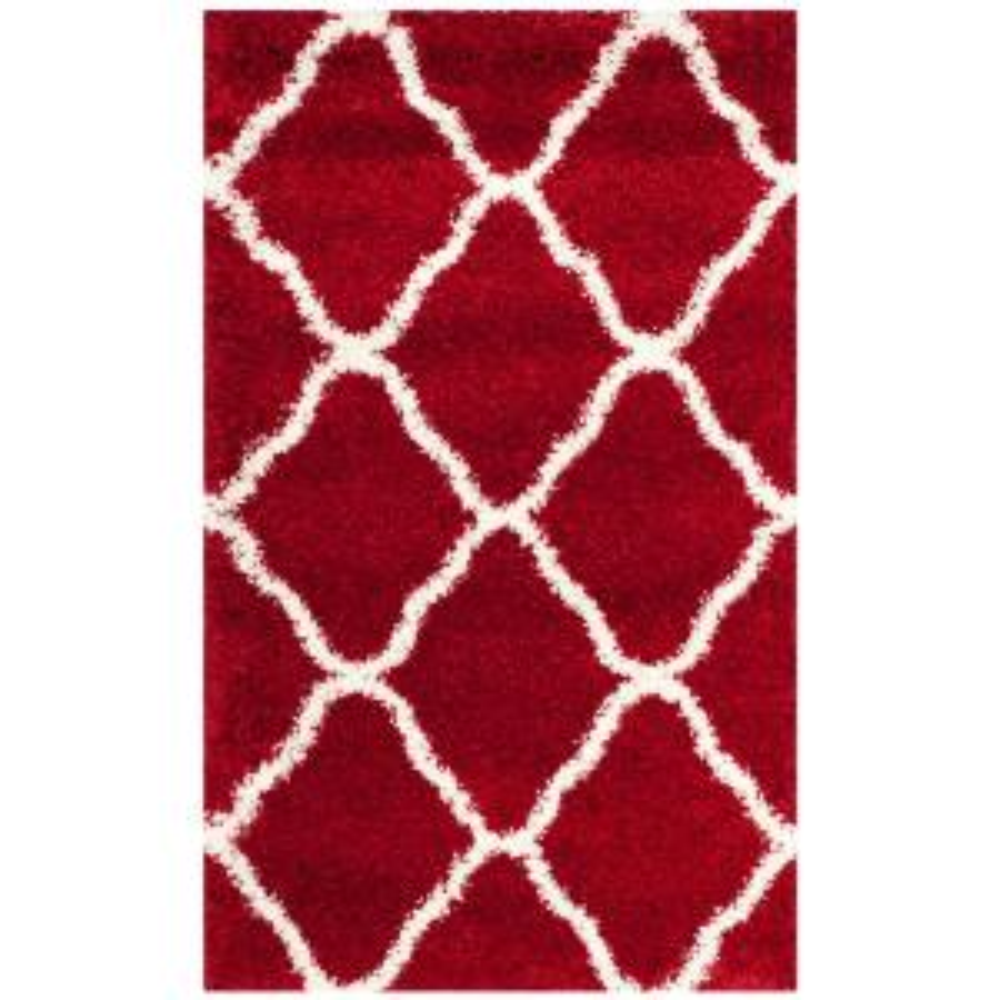 Hudson Shag Red/Ivory 3 ft. x 5 ft. Area Rug