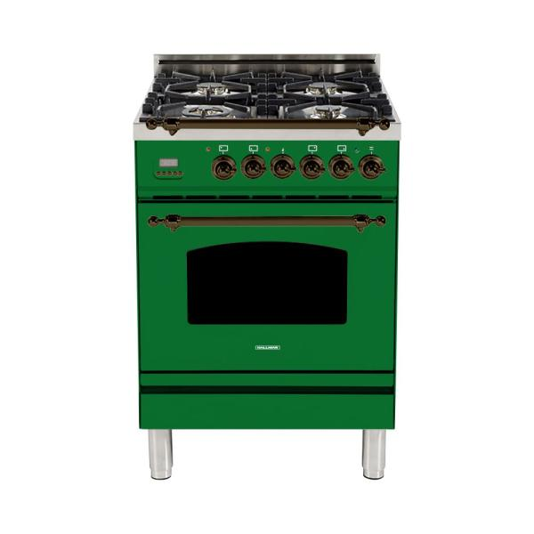 24 in. 2.4 cu. ft. Single Oven Dual Fuel Italian Range with True Convection, 4 Burners, Bronze Trim in Emerald Green