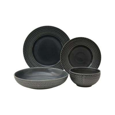 Tweed Ridge 16-Piece Grey Dinnerware Set