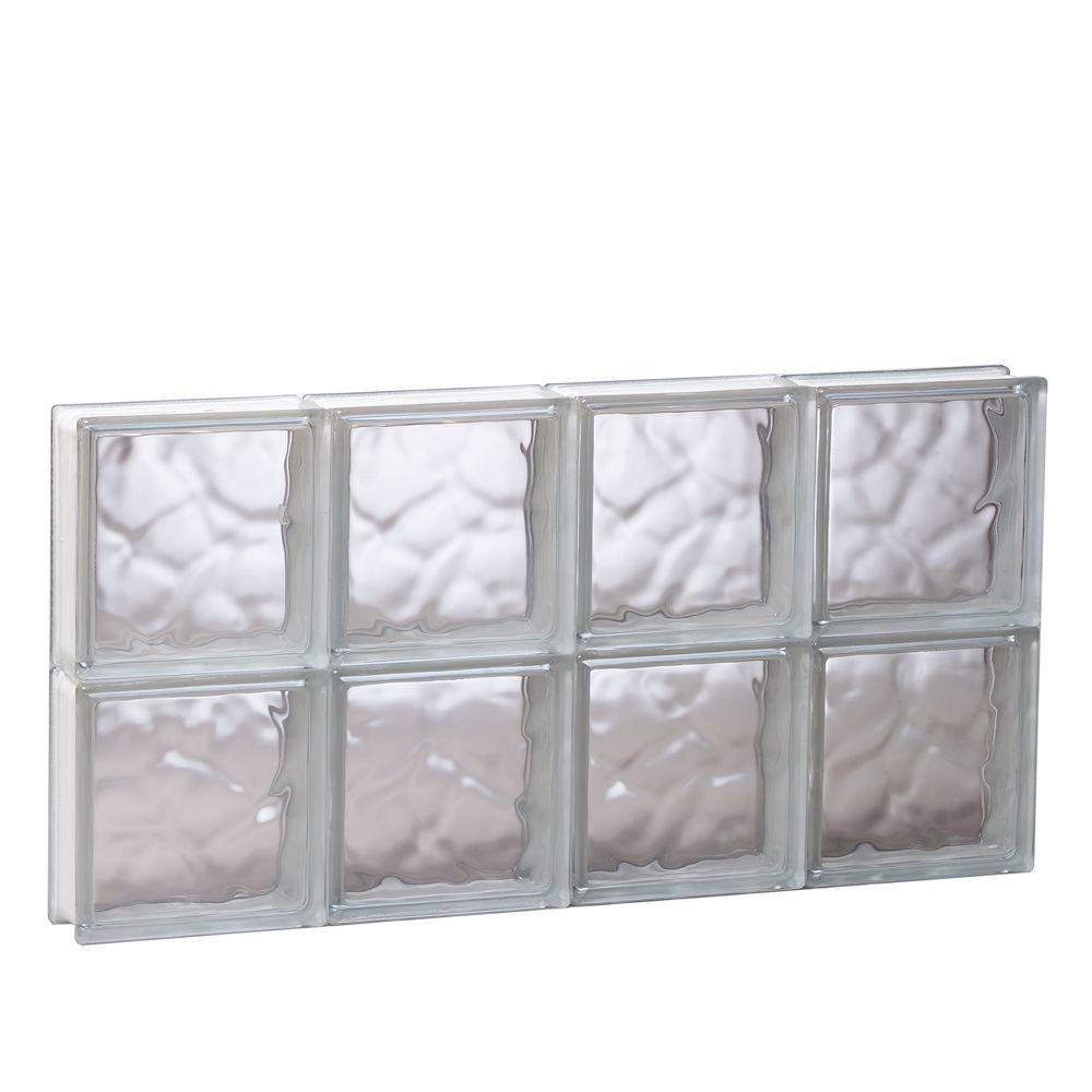 Clearly Secure 31 in. x 15.5 in. x 3.125 in. Wave Pattern Non-Vented Glass Block Window