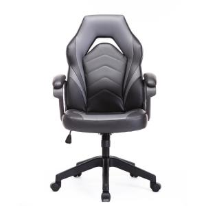 Black and Gray Gaming Chair Racing Style Computer Desk Chair Work Chair with Lumbar Support PU Leatherwith Task Chair