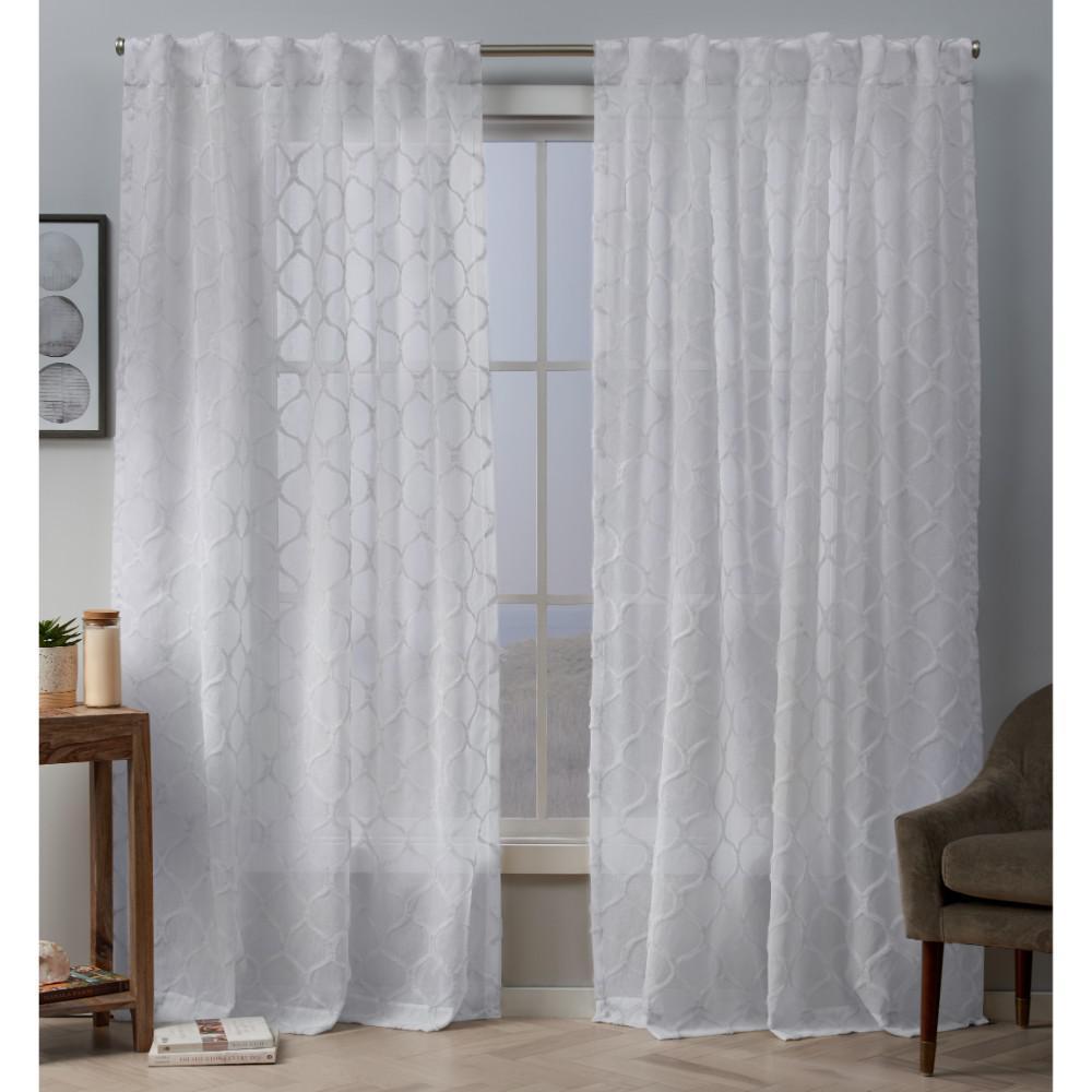 Bradford 54 in. W x 84 in. L Sheer Hidden Tab Top Curtain Panel in White (2 Panels)