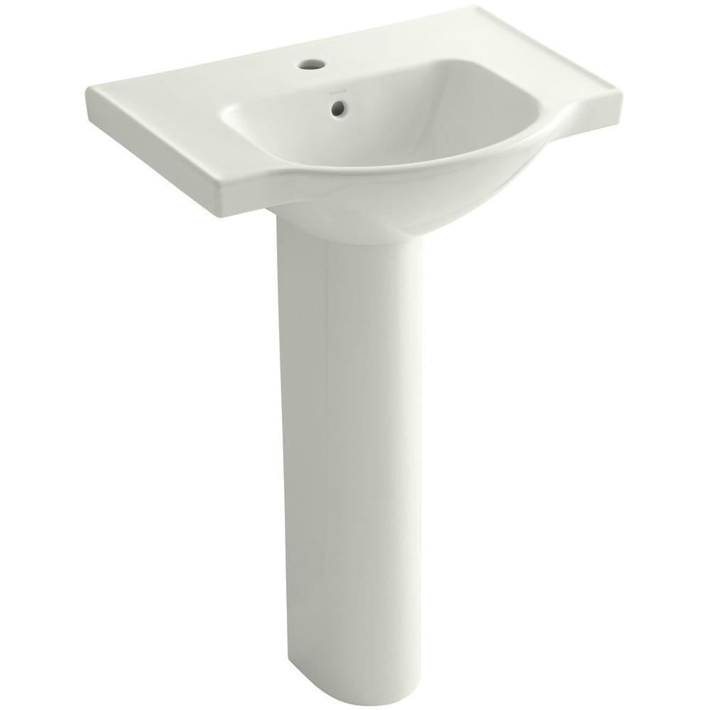 KOHLER Veer 24 in. Vitreous China Pedestal Combo Bathroom Sink in Dune with Overflow Drain