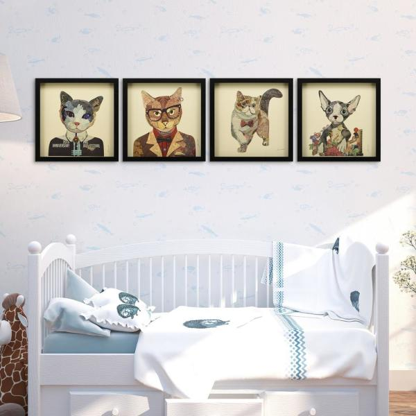 Empire Art Direct Cats Set Dimensional Collage Framed Graphic Art Under