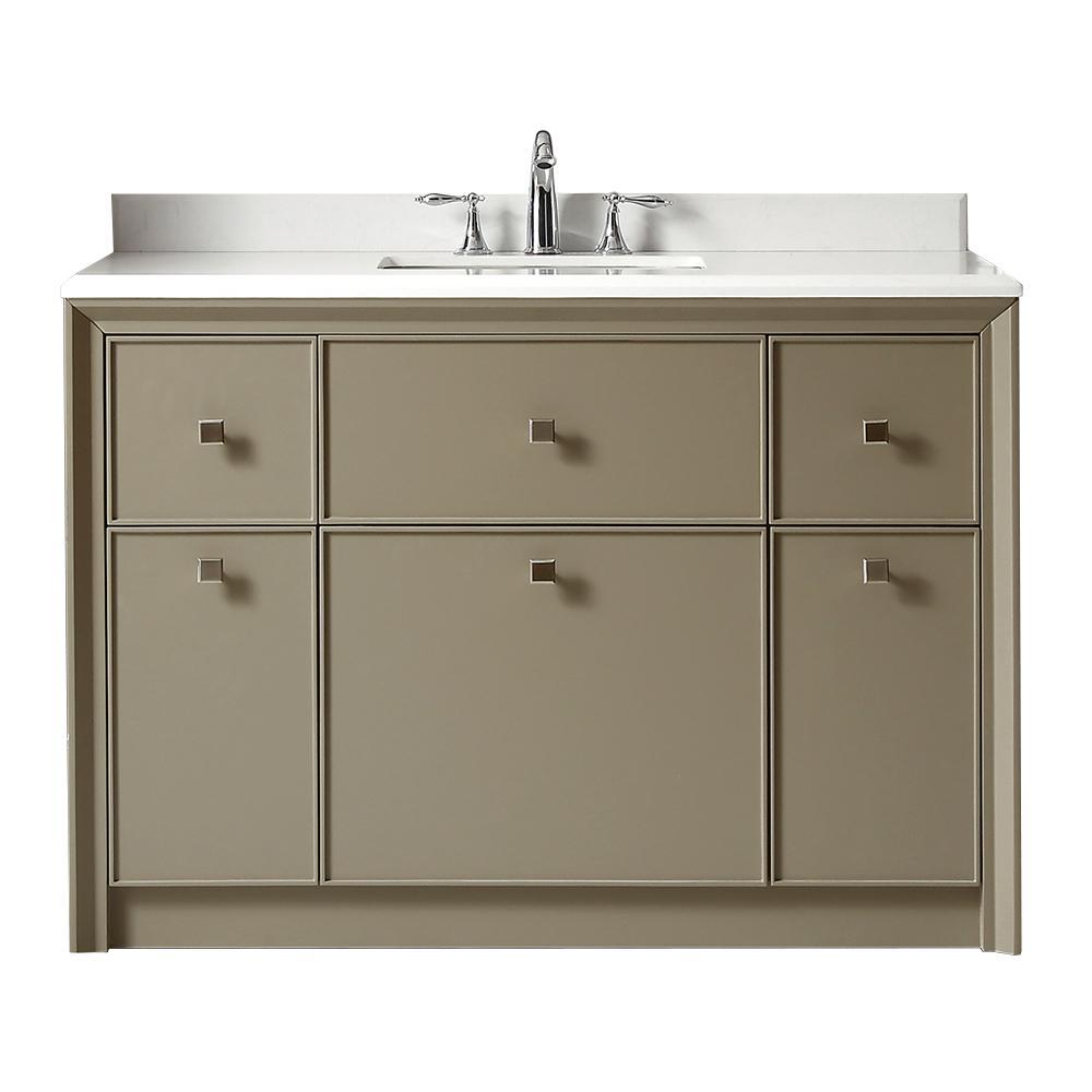 Martha Stewart Living Parrish 48 in. W x 22 in. D Bath Vanity in Mushroom with Marble Top in Yves White