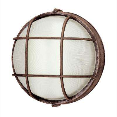 Bulkhead 1-Light Rust Outdoor Energy Saving Wall/Ceiling Fixture with Frosted Glass