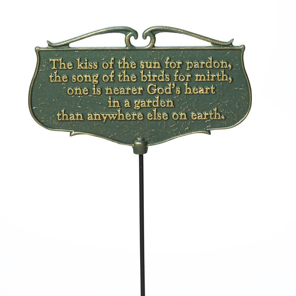 Superbe Whitehall Products Green/Gold The Kiss Of The Sun Garden Poem Sign