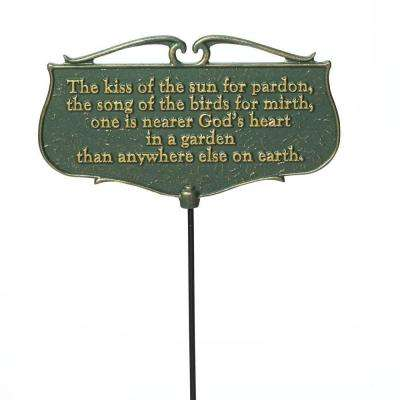 Green/Gold the Kiss of the Sun Garden Poem Sign