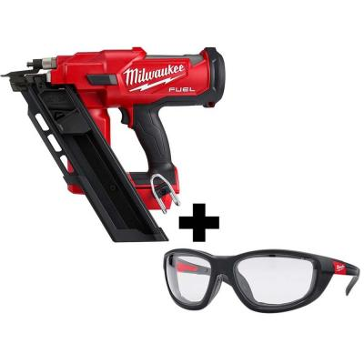 M18 FUEL 3-1/2 in. 18-Volt 30-Degree Lithium-Ion Brushless Framing Nailer and Performance Safety Glasses with Gasket