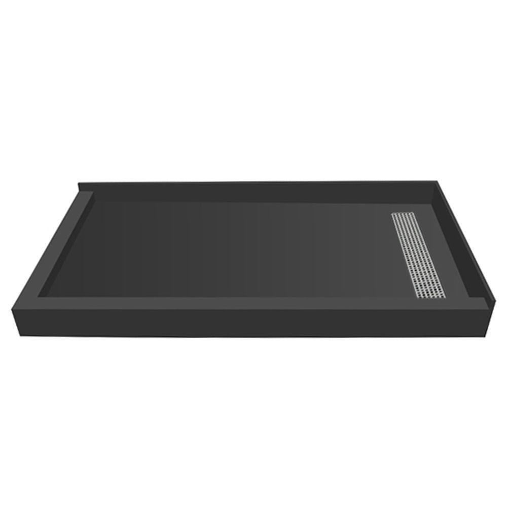 Redi Trench 42 in. x 60 in. Double Threshold Shower Base with Right Drain and Brushed Nickel Trench Grate