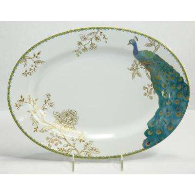 14 in. Peacock Garden White Oval Platter