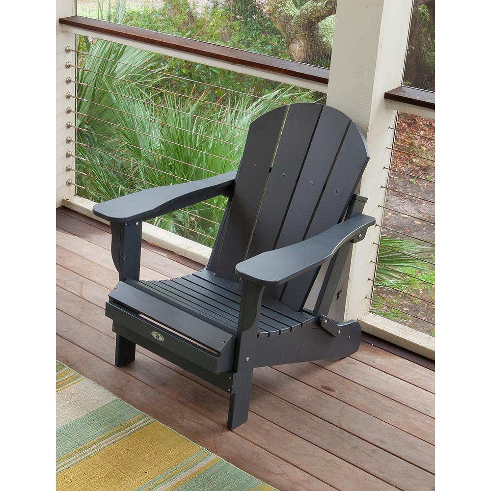 Recycled Black Folding Plastic Adirondack Chair