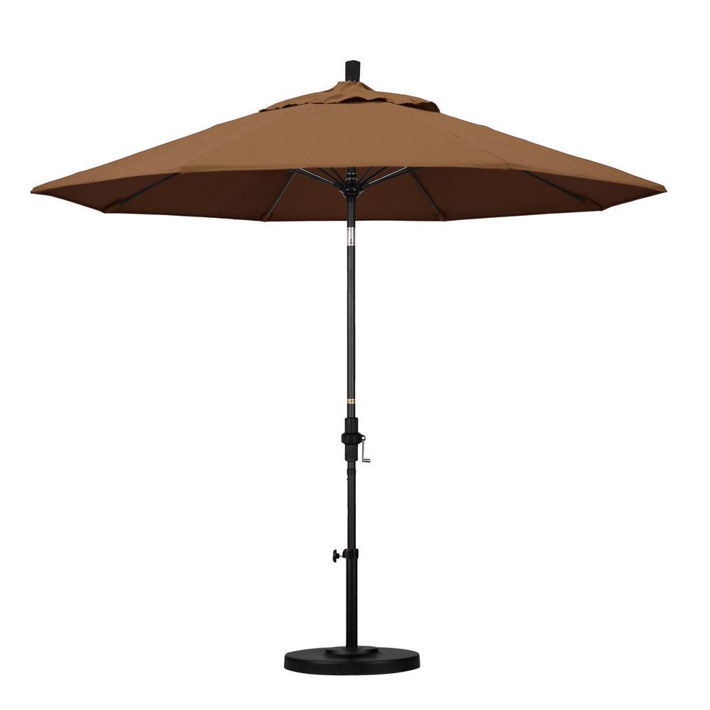 9 ft. Matted Black Aluminum Market Patio Umbrella with Fiberglass Ribs Collar Tilt Crank Lift  in Teak Sunbrella