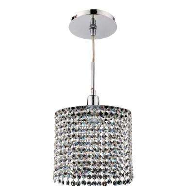 Fuzion X 1-Light Oval Single Layer Crystal and Chrome Mini Pendant
