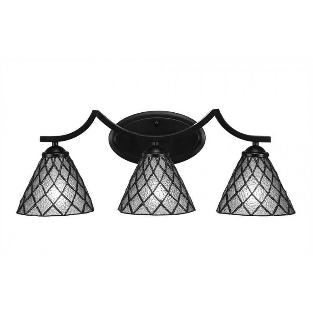 3-Light Matte Black Bath Light