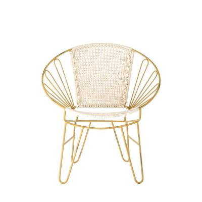 Off-White Cotton Woven and Metal Accent Chair