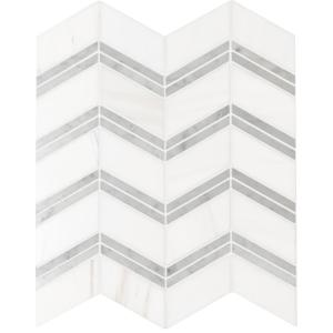 Bianco Dolomite Chevron 12 in. x 12 in. x 10mm Polished Marble Mesh-Mounted Mosaic Tile (10 sq. ft. / case)
