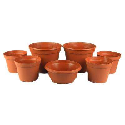 Cascade Collection 6 in. to 8 in. Terra Cotta Poly Planter Set