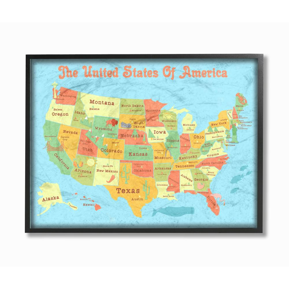 Map Of America Hawaii And Mexico.16 In X 20 In United States Of America Usa Kids Map By Daphne Polselli Wood Framed Wall Art
