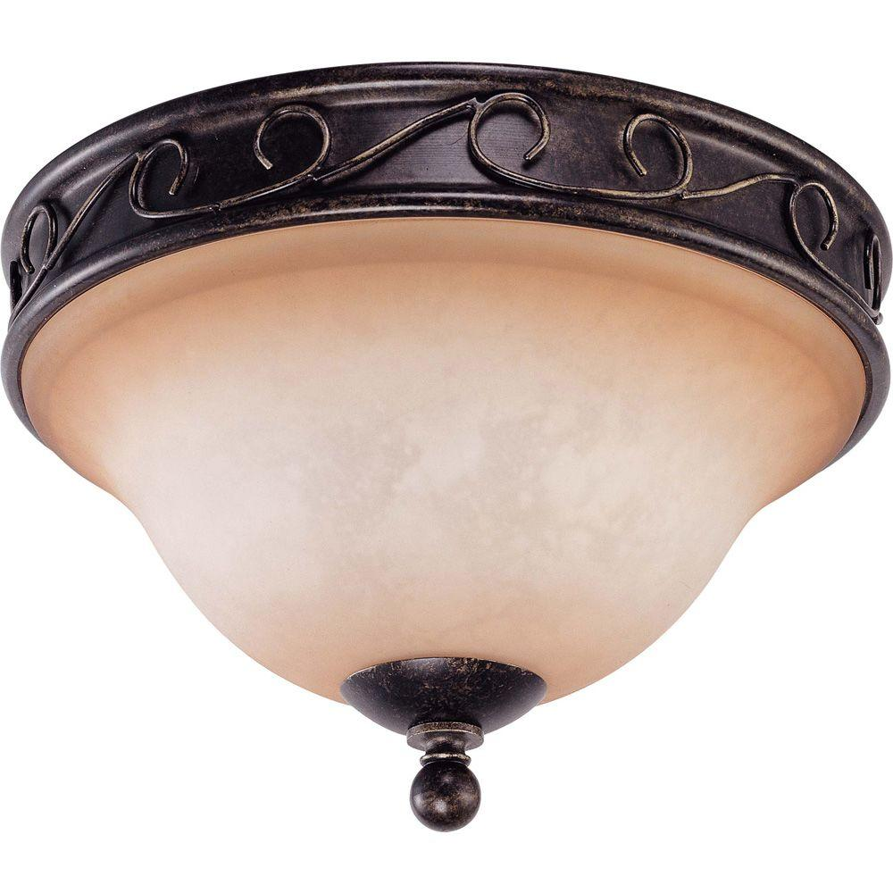 Glomar Windermere Golden Umber 2 Light 12 in. Flush Dome With Toffee Crunch Glass-DISCONTINUED