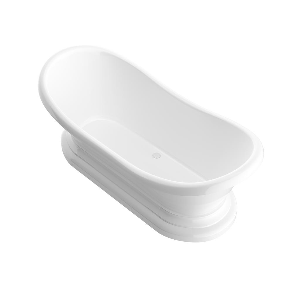Universal Tubs Ivory 6 ft. Acrylic Center Drain Oval Bathtub in White