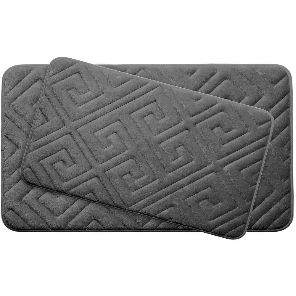Caicos Dark Gray Memory Foam 2-Piece Bath Mat Set