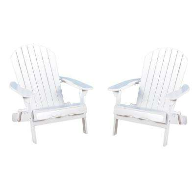 Obadiah White Folding Wood Adirondack Chair (2-Pack)