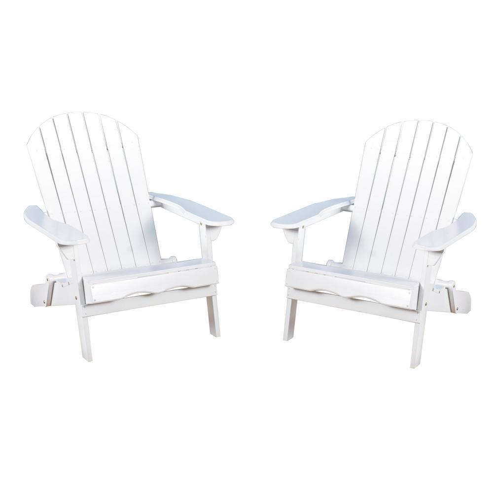 Noble House Obadiah White Folding Wood Adirondack Chair (2-Pack)