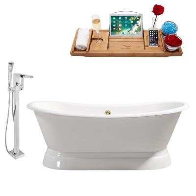 Tub, Faucet and Tray Set 71 in. Cast Iron Flatbottom Non-Whirpool Bathtub in Glossy White