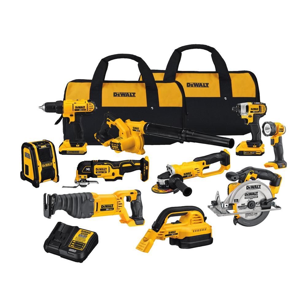 DEWALT 20-Volt Max Lithium-Ion Cordless Combo Kit (10-Tool) w/ (2) Batteries 2.0Ah, Charger & Tool Bag