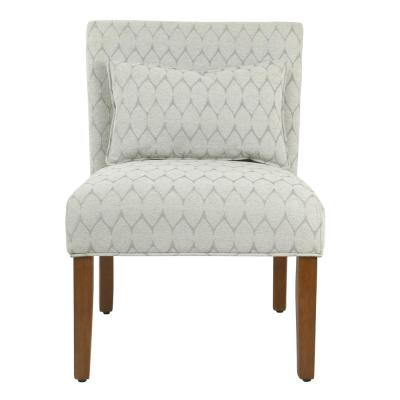 Modern Geo Textured Gray Parker Accent Chair with Pillow