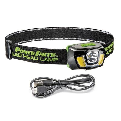 250 Lumens LED Rechargeable Weatherproof Lithium-ion Tiltable Head Lamp with Flood/Spot/Strobe Modes and Charger