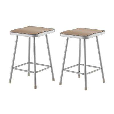 24 in. Grey Heavy-Duty Square Seat Steel Stool (2-Pack)