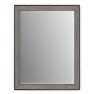 21 in. x 28 in. (S1) Rectangular Framed Mirror with Deluxe Glass and Flush Mount Hardware in Weathered Wood