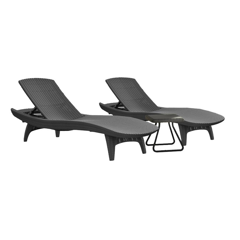 Keter Pacific Grey All-Weather Adjustable Resin Patio Chaise Lounger with Side Table (3-Piece Set)