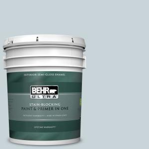 5 gal. #N480-1 Light Drizzle Semi-Gloss Enamel Interior Paint and Primer in One