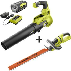 110 MPH 525 CFM 40-Volt Li-Ion Cordless Jet Fan Leaf Blower and 24 in Hedge Trimmer 4.0 Ah Battery and Charger Included