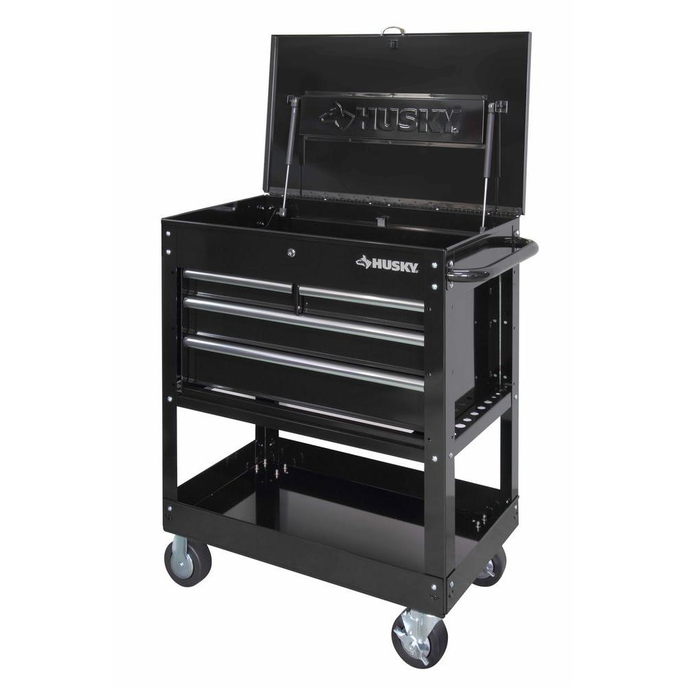 Husky Tool Cart >> Husky 33 In 4 Drawer Mechanics Tool Utility Cart In Black