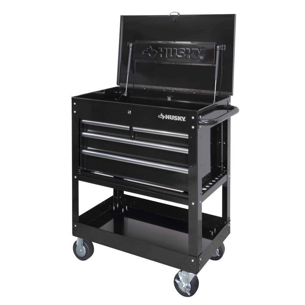 Husky 33 in 4 Drawer Mechanics Tool Cart Black