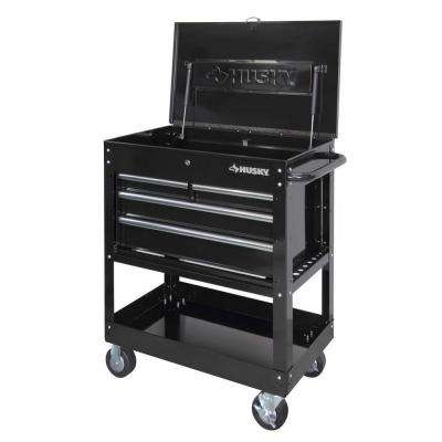 33 in. W 4-Drawer Mechanics Tool Utility Cart in Gloss Black