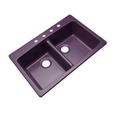 Waterbrook Dual Mount Composite Granite 33 in. 4-Hole Double Bowl Kitchen Sink in Plum