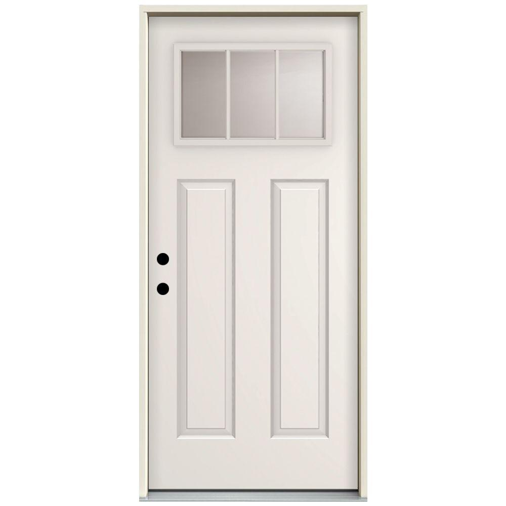 Steves & Sons 32 in. x 80 in. 3 Lite Right-Hand Inswing Primed White Steel Prehung Front Door with 4 in. Wall